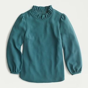 J. Crew Long-sleeve ruffle-neck top in 365 crepe